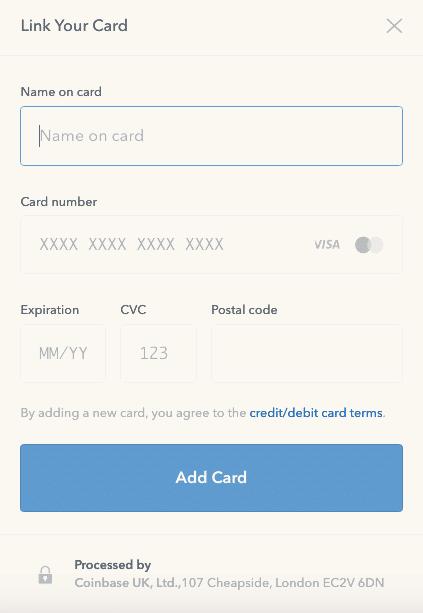 Choisissez votre mode de paiement en associant votre carte de crédit ou de débit à Coinbase.